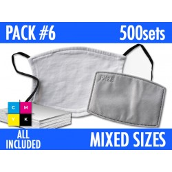 500 SETS of MASKS. MIXED SIZES C. PACK 6