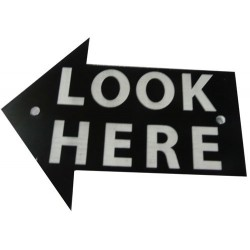 "PL3401 - ""LOOK HERE"" 3 PLASTIC ARROW LEFT (7,5x10 cm - Inch 2,96x3,94)"