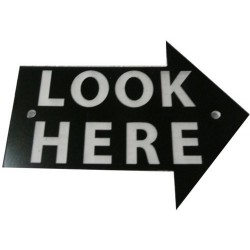 "PL3400 - ""LOOK HERE"" 3 PLASTIC ARROW RIGHT (7,5x10 cm - Inch 2,96x3,94)"